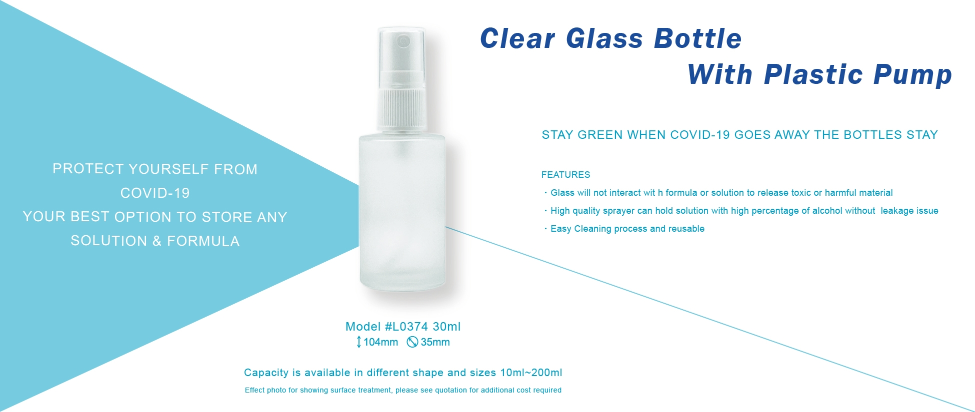 Clear Glass Bottle With Plastic Pump